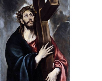 Christ with His Cross Art Print - by El Greco - Christian Art - Catholic Art - Gift