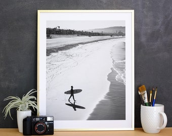 Manhattan Beach Surfer Print, Black and White Photography Print, Surf Print, Surf Photography, Surf Art Print, Surf Art, Surf Decor Wall Art