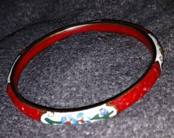 Cinnabar Cloisonné Bangle Bracelet