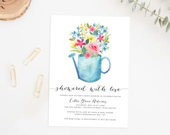 Spring Baby Shower Invitation, Watercolor Floral Spring Baby Shower Invite, Baby Shower Invite, Baby Shower Invitation, Baby Shower Floral