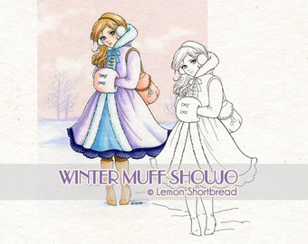 Digital Stamp Winter Snow Muff Girl, Digi Download Christmas, Shoujo Anime, Coloring Page, Clip Art, Scrapbooking Supplies