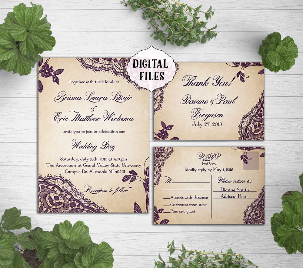DIGITAL Lace Wedding Invitation Plum Lace wedding invite