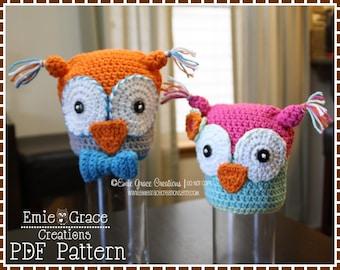 Crochet Owl Hat Pattern, Beanie, OLIVIA and OLIVANDER OWL - pdf 131