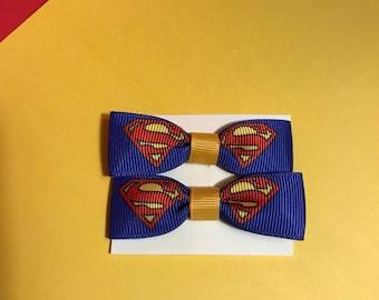 Superman, Supergirl, Superhero Hair Bow Clip, Baby Hair Bow Clip, Toddler Hair Bow Clip, Girl Hair Bow Clip