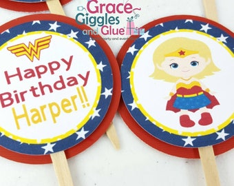 12 Superhero Girl Cupcake  Toppers,