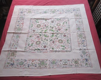 Vintage 1950s Colorful 50x52 Red and Green Floral Birds Kitchen Tablecloth