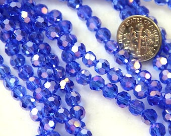 Round Faceted Crystal Beads, 6mm. Royal Blue w/AB Finish,  Accent Beads, Multi Colored Beads, Czech Beads, 35 Beads Per Strand