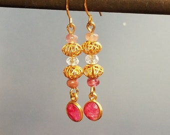 Ruby Drop Earrings Filigree Bead Earrings Pink Tourmaline Earrings Pink Earrings Beaded Earrings Gold Filigree Bead Earrings