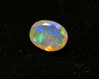 Video ! 10.5x8mm Nice natural solid Ethiopian Opal faceted in oval 1.54ct loose precious stone for crafting jewelry DIY creative (#PB136)