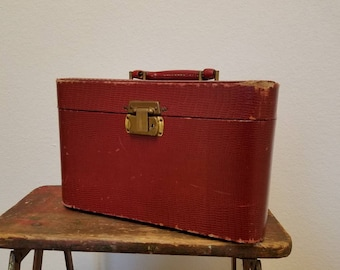 traveling light - 1940s red train case with mirror and bonus inside  case, vintage luggage, retro make-up case, suitcase