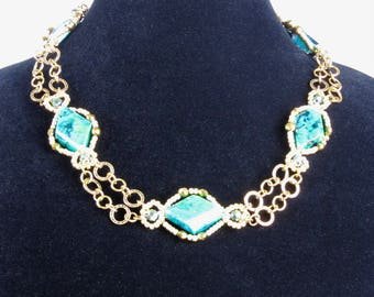 Gorgeous twisted yellow turquoise flat diamond shape bead with Antique Goldtone Chain