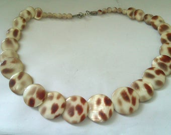 brown and cream MOP disc bead necklace