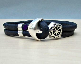 Blue Anchor Bracelet Mens Blue Leather Cord bracelet Cuff Sailing Bracelet Customized On Your Wrist.
