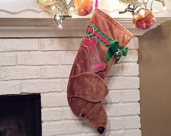 Dachshund Dog Stocking, Personalized Christmas Stocking, dog stocking, monogrammed Hearth Hound Dachshund stocking, dog stockings, dachshund
