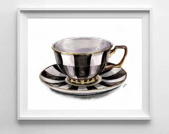 Teacup art print, watercolor painting print, kitchen art