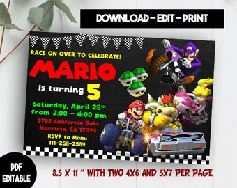 INSTANT DOWNLOAD Mario Kart Invitation Mario Kart Birthday