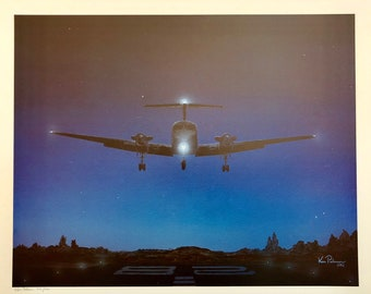 Beech King Air T-tailed Night time approach poster