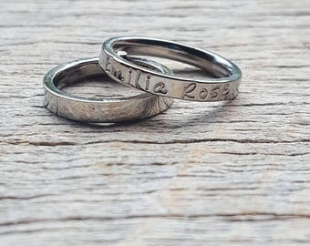 Hand Stamped Two Names Ring Stacking Ring Mothers Ring Personalized Name Ring 3mm Shiny Stainless Steel comfort fit Mother's Day