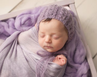 Purple Lacy Mohair Alpaca Newborn Knit Hat Bonnet Photo Prop