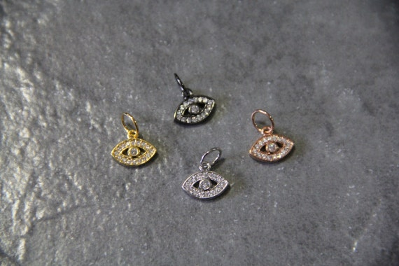 CZ Micro Pave 7x11mm Evil Eye  Charm with Jump Ring