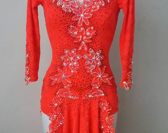Brand New FluorescentRed Latin Dance dress