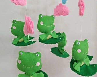 Free Shipping!Ready to Ship!  Baby nursery mobile,Baby Mobile,Frogs baby mobile, Green Baby Mobile,  Lotus Baby mobile