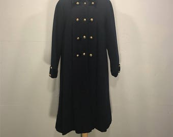 Vintage Rothchild navy wool military brass button velvet collar cuffs insulated lined winter coat