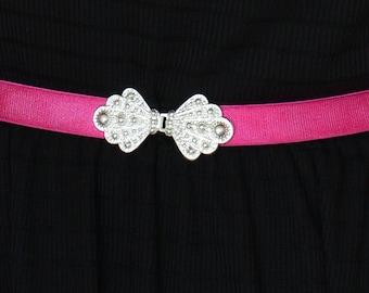 Waist Belt - Fuchsia belt - Silver Buckle - Pink Belt - Wedding belt - Bridesmaids Belt - Dainty belt - Stretch Belt - Sash Belt - Ribbon