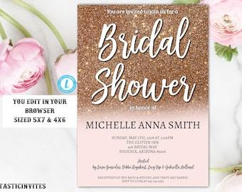 Rose Gold Bridal Shower Invitation Template, Instant Download, Glitter, Editable, Bridal Shower Invitation, DIY Template, Rose Gold, Bridal