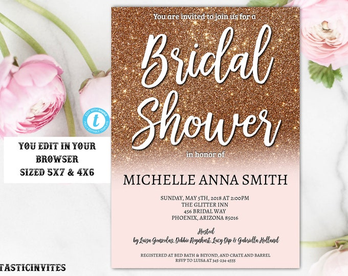 Rose Gold Bridal Shower Invitation Template, Instant Download, Glitter, Editable, Bridal Shower Invitation, DIY Template, Rose Gold, Bridal