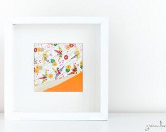 Origami Frame - Orange Cranes