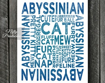 Abyssinian Print - INSTANT DOWNLOAD Abyssinian Art - Abyssinian Poster - Abyssinian Gifts - Printable Abyssinian Wall Art - Blue Cat Print