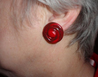 Polymer Clay Button Earrings with Red and Brown Swirl Design