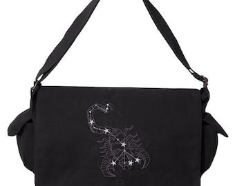 Scorpio Bag, Horoscope Scorpio Bag, Scorpio Messenger, Ecliptic Constellations - Scorpio Embroidered Canvas Cotton Messenger Bag