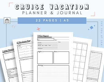 Cruise Journal | Travel Journal and Cruise Planner | Cruise Gift | Vacation Organizer | Cruise Line Trip Organizer | Vacation Itinerary