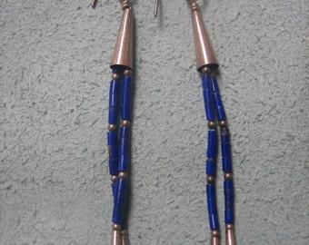 Lapis Drop Earrings Sterling Silver