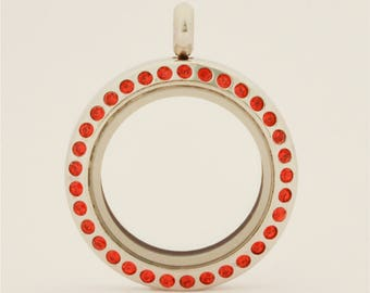 25mm Magnetic Red Crystal Stainless Steel Floating Locket (L-25S-RED-MG), USA Seller