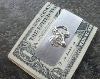 Deer Aluminum Money Clip - Riveted - Silver Ox - Wedding Party - Groomsman Gift - Can Be Personalized