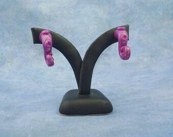 Violet Tentacle Earrings, Handmade Polymer Clay Jewelry