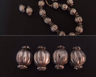 4 Old Silver Beads out of Himachal Pradesh Tribal Necklace, Rare Ancient Beads, Gypsy Silver Jewelry, DIY Jewelry, Silver Supplies, Nomads