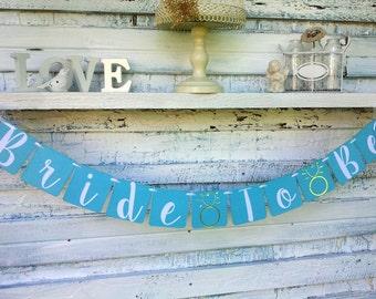 Bridal shower decor, robins egg blue, bride to be banner, miss to mrs, tea party decor, brides brunch decor, engagement ring banner