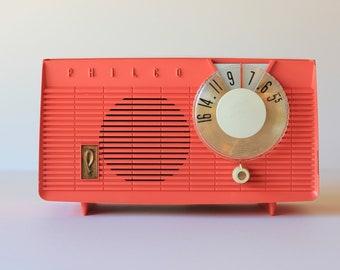 Coral Mid Century Modern Philco AM Radio