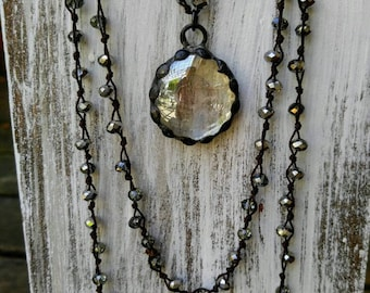 Crystal Layering Necklace with Hand Soldered Glass Pendant