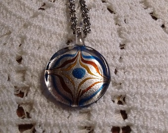 Art Glass Circle Pendant: Silver chain
