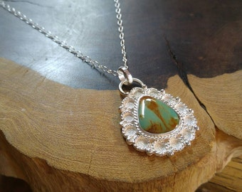 Gorgeous Kingman Turquoise Sterling Silver Handmade Necklace, Textured, Sterling Chain