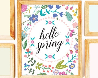 Hello Spring Printable Wall Art Decor, Instant Download, Quote Print, Spring Wall Art, Hello Sprint Print, Printable Art, Spring Flowers