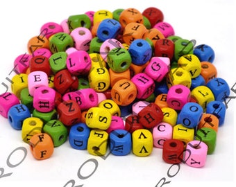 Set of 200 square 9 mm color Alphabet beads various jewelry pendant necklace