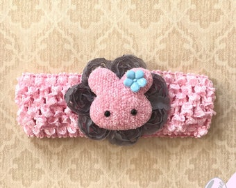 Bunny Bow- Spring Bow- Easter Bunny- Baby's First Easter- Spring Headband- Bunny Headband- Crochet Headband- Baby Headband- Baby Easter