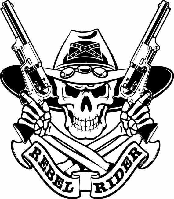 Cool Skull Logos With Guns Cowboy Hat Skul...