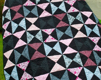 Patchwork Lap Quilt - Handmade - Modern - Pink, Black, Hairbows, Stripes, Hearts, Bows - Hourglass
